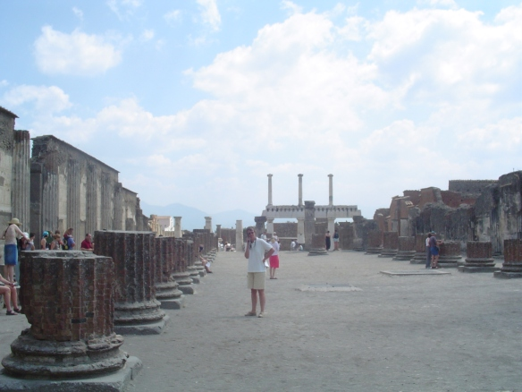 Walking among the ruins at Pompeii
