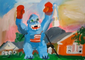 Russell's rendering of the giant blue inflatable chimp