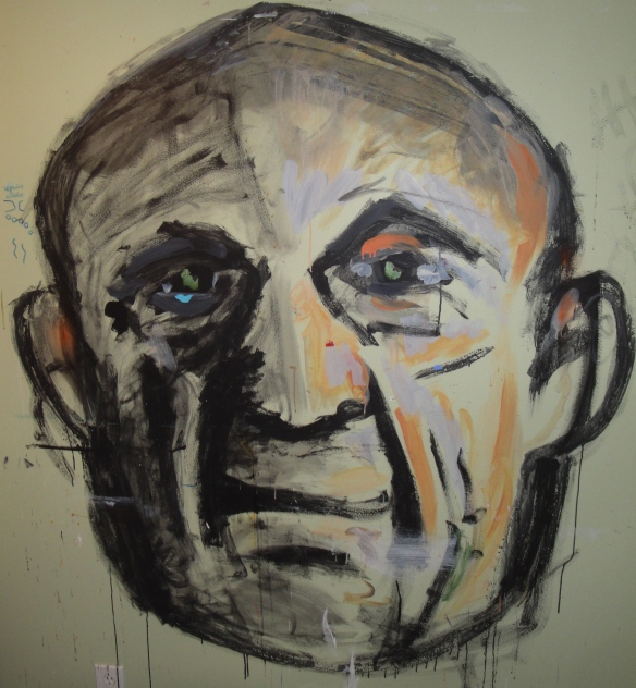 Russell's bedroom wall portrait of Picasso