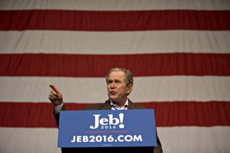 Presidential Candidate Jeb Bush Campaigns With Brother George W. Bush