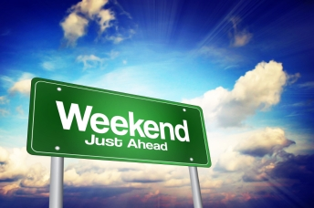 Weekend Just Ahead Green Road Sign, Business Concept