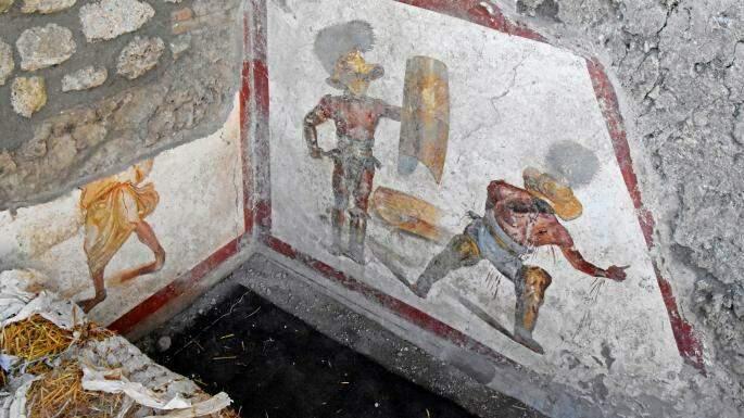 pintura-de-gladiadores-e-descoberta-na-antiga-cidade-de-pompeia
